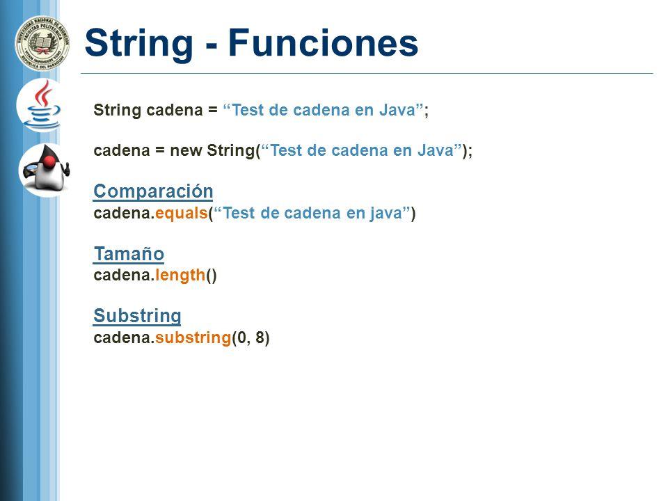 String - Funciones String cadena = Test de cadena en Java; cadena = new String(Test de cadena en Java); Comparación cadena.equals(Test de cadena en ja
