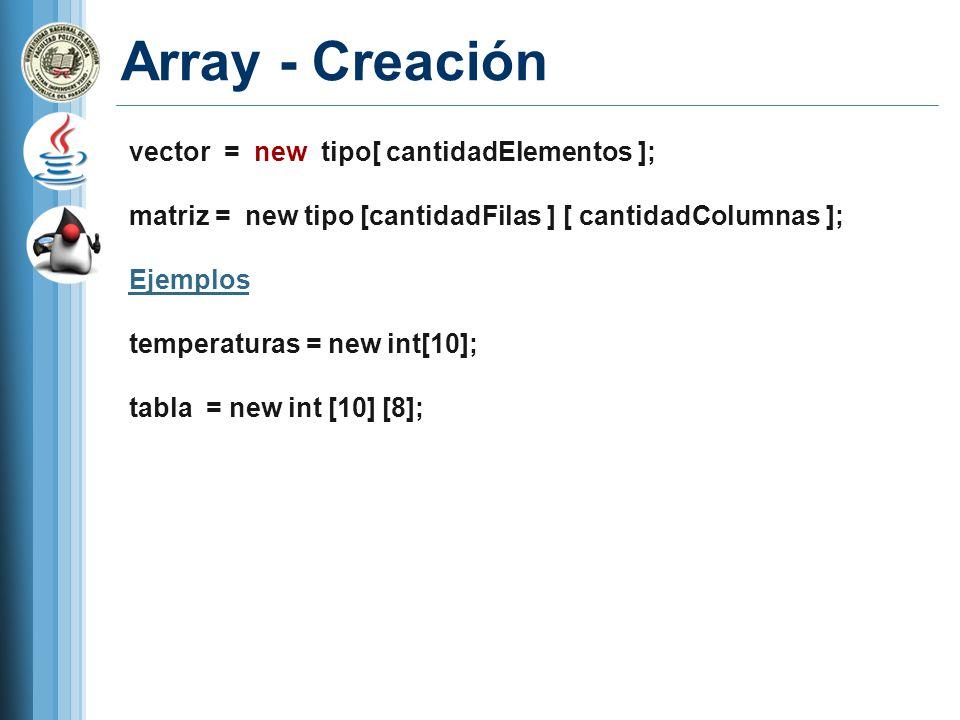 Array - Creación vector = new tipo[ cantidadElementos ]; matriz = new tipo [cantidadFilas ] [ cantidadColumnas ]; Ejemplos temperaturas = new int[10];