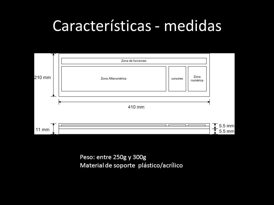 Características - medidas Peso: entre 250g y 300g Material de soporte plástico/acrílico