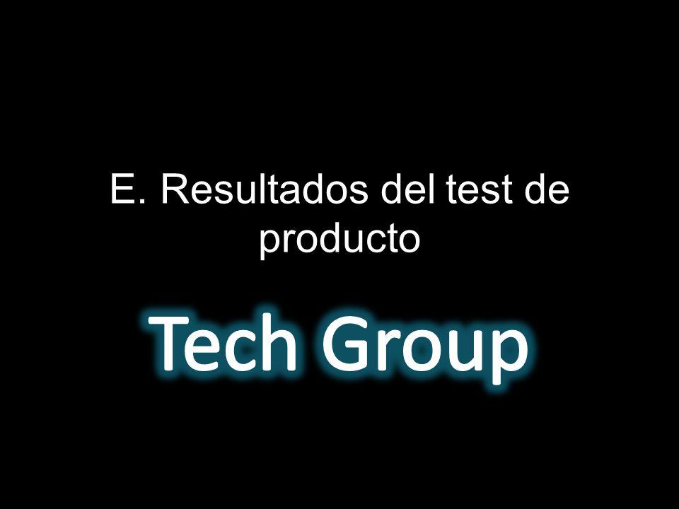E. Resultados del test de producto