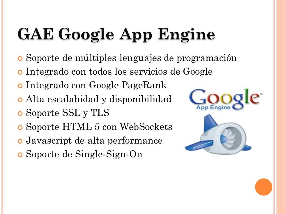 GAEGoogle App Engine GAE Google App Engine Soporte de múltiples lenguajes de programación Integrado con todos los servicios de Google Integrado con Go