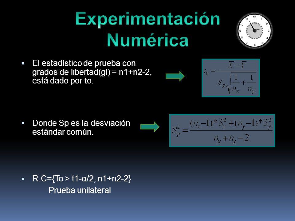 El estadístico de prueba con grados de libertad(gl) = n1+n2-2, está dado por to.