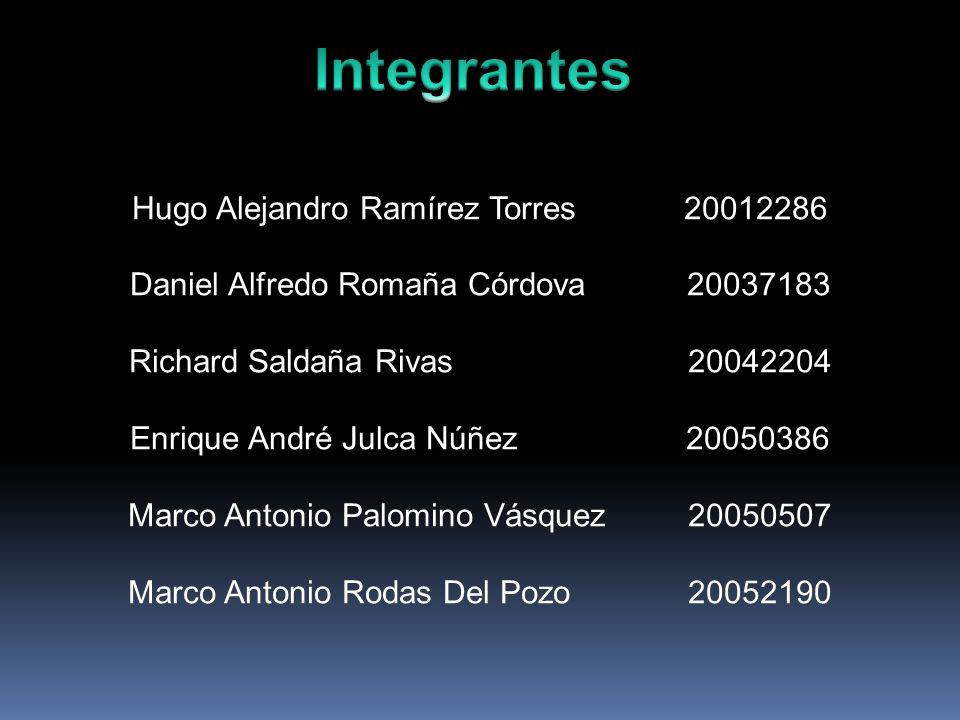 Hugo Alejandro Ramírez Torres 20012286 Daniel Alfredo Romaña Córdova 20037183 Richard Saldaña Rivas 20042204 Enrique André Julca Núñez 20050386 Marco Antonio Palomino Vásquez 20050507 Marco Antonio Rodas Del Pozo 20052190