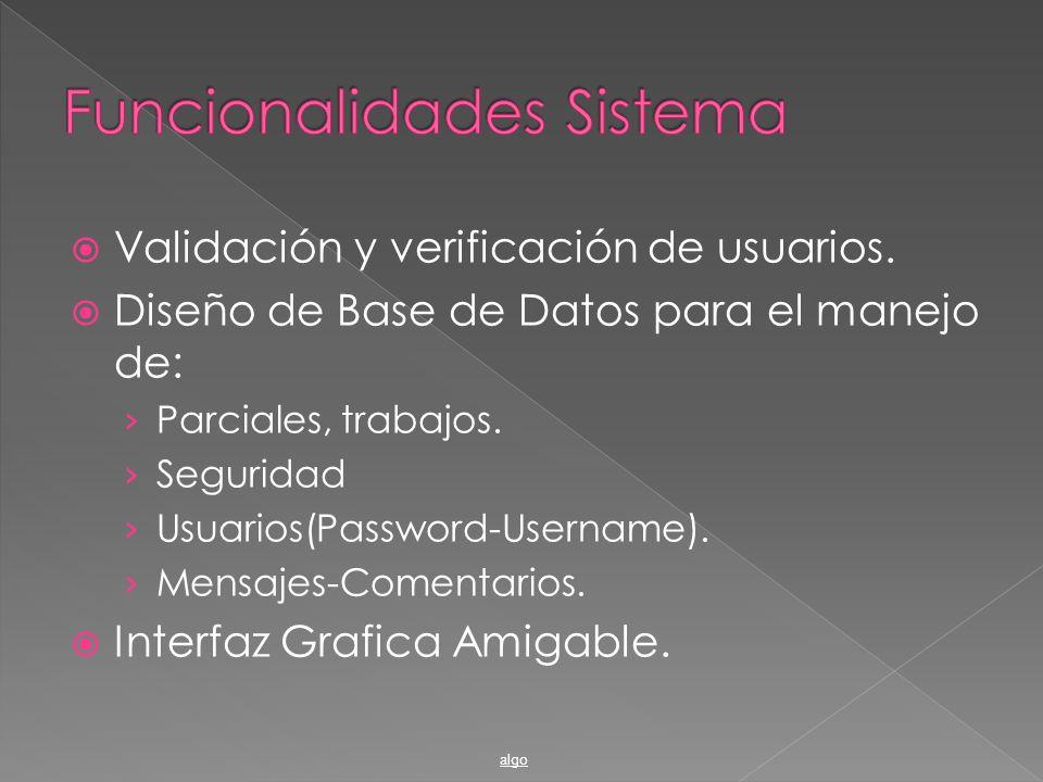 Validación y verificación de usuarios. Diseño de Base de Datos para el manejo de: Parciales, trabajos. Seguridad Usuarios(Password-Username). Mensajes