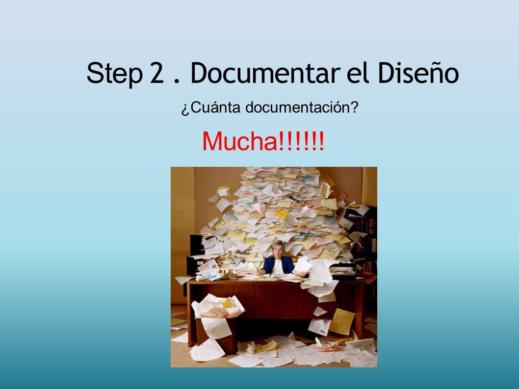 Step 2. Documentar el Diseño ¿Cuánta documentación? Mucha!!!!!!