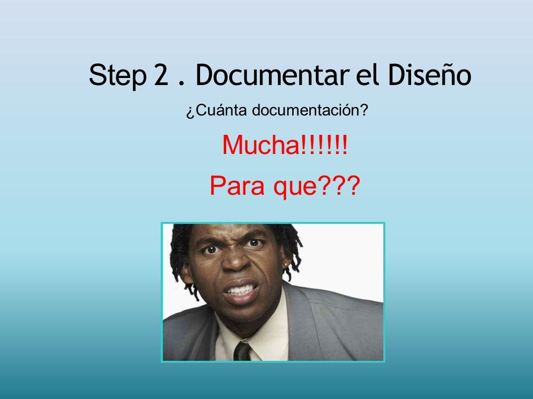 Step 2. Documentar el Diseño ¿Cuánta documentación? Mucha!!!!!! Para que???