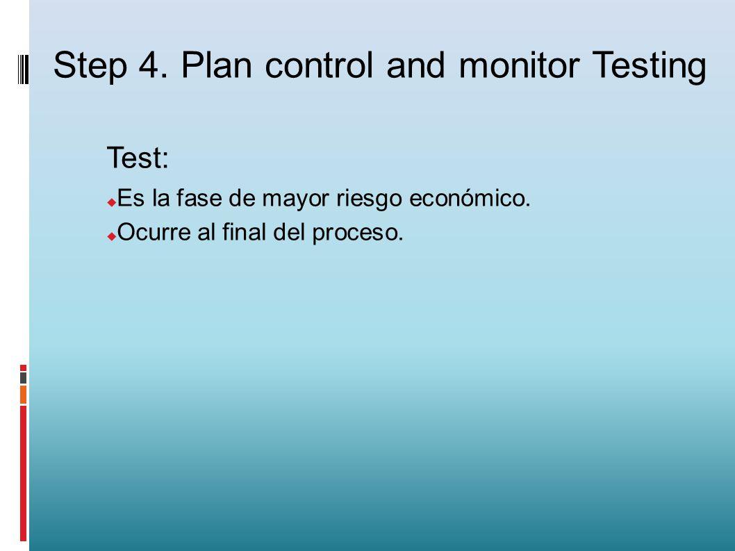 Test: Es la fase de mayor riesgo económico. Ocurre al final del proceso. Step 4. Plan control and monitor Testing
