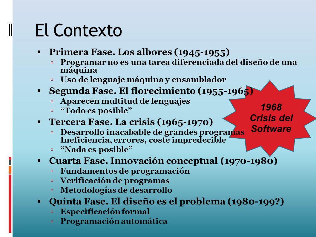 1968 Crisis del Software El Contexto Primera Fase. Los albores (1945-1955) Programar no es una tarea diferenciada del diseño de una máquina Uso de len