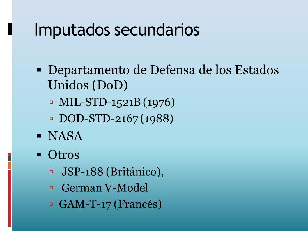 Imputados secundarios Departamento de Defensa de los Estados Unidos (DoD) MIL-STD-1521B (1976) DOD-STD-2167 (1988) NASA Otros JSP-188 (Británico), Ger