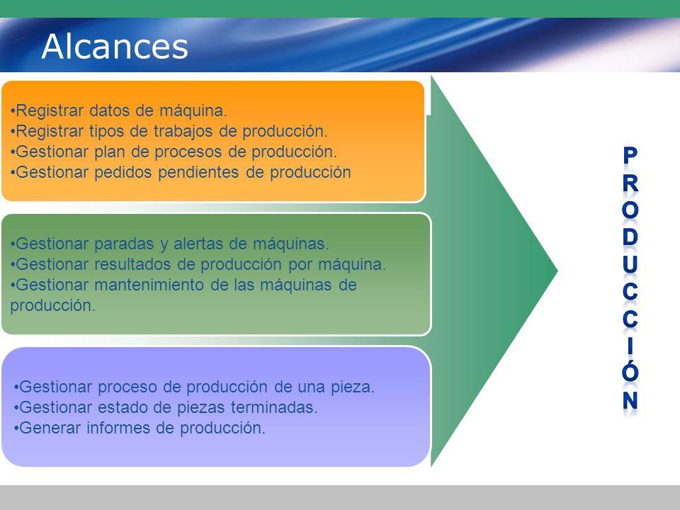 Alcances Registrar datos de máquina.Registrar tipos de trabajos de producción.