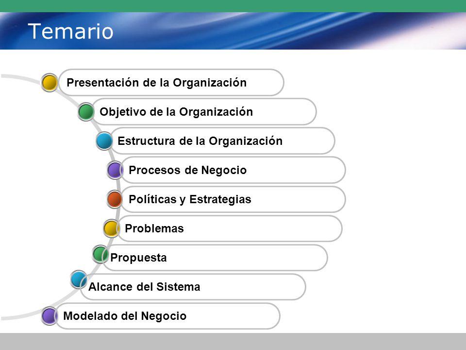Temario Políticas y Estrategias Estructura de la Organización Objetivo de la Organización Presentación de la Organización Procesos de Negocio Problemas Propuesta Alcance del Sistema Modelado del Negocio