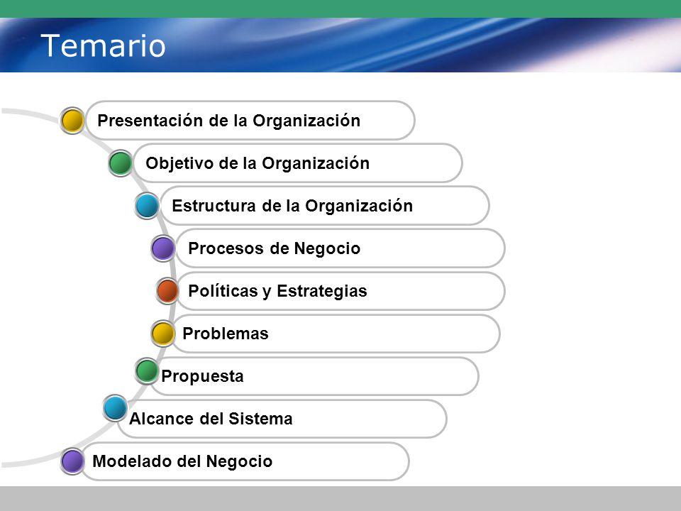 Temario Políticas y Estrategias Procesos de Negocio Estructura de la Organización Propuesta Problemas Alcance del Sistema Modelado del Negocio Presentación de la Organización Objetivo de la Organización
