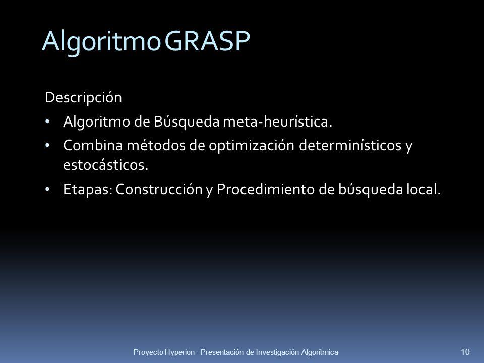 Proyecto Hyperion - Presentación de Investigación Algorítmica 10 Algoritmo GRASP Descripción Algoritmo de Búsqueda meta-heurística. Combina métodos de