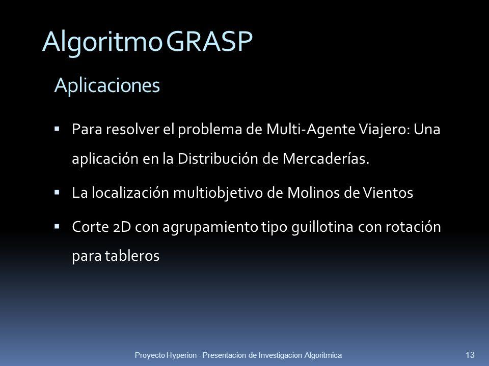 Proyecto Hyperion - Presentacion de Investigacion Algoritmica 13 Aplicaciones Algoritmo GRASP Para resolver el problema de Multi-Agente Viajero: Una a