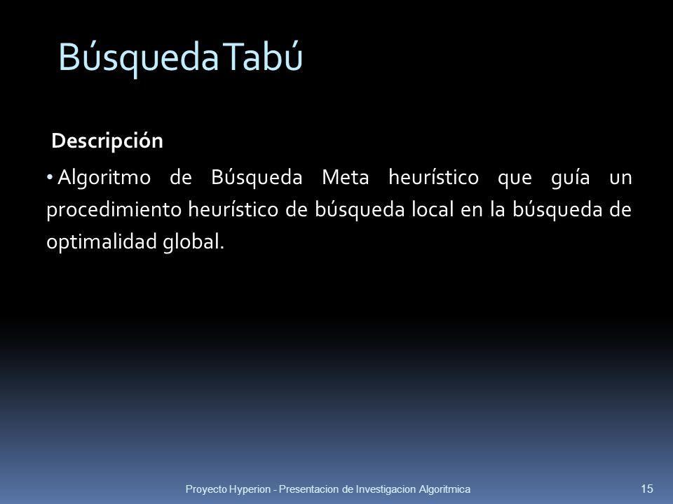 Proyecto Hyperion - Presentacion de Investigacion Algoritmica 15 Descripción Algoritmo de Búsqueda Meta heurístico que guía un procedimiento heurístic