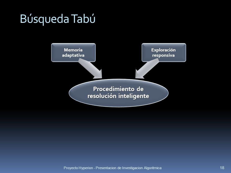 Proyecto Hyperion - Presentacion de Investigacion Algoritmica 18 Búsqueda Tabú