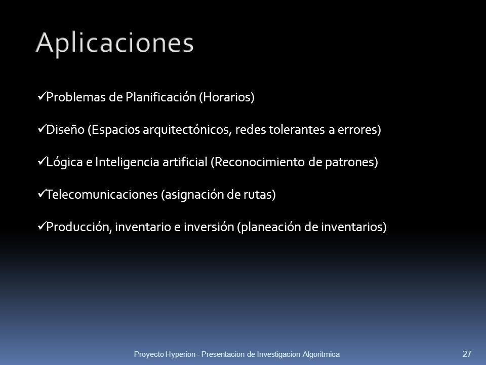 Proyecto Hyperion - Presentacion de Investigacion Algoritmica 27 Problemas de Planificación (Horarios) Diseño (Espacios arquitectónicos, redes toleran