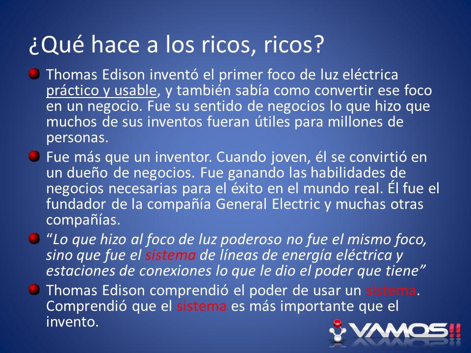 ¿Qué hace a los ricos, ricos? Thomas Edison inventó el primer foco de luz eléctrica práctico y usable, y también sabía como convertir ese foco en un n