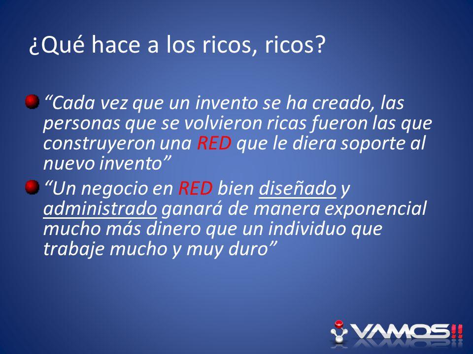 ¿Qué hace a los ricos, ricos? Cada vez que un invento se ha creado, las personas que se volvieron ricas fueron las que construyeron una RED que le die