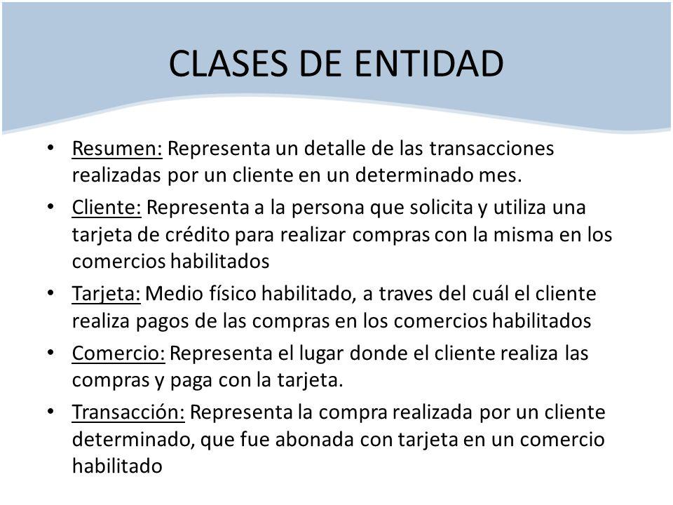 CLASES DE ENTIDAD Resumen: Representa un detalle de las transacciones realizadas por un cliente en un determinado mes. Cliente: Representa a la person
