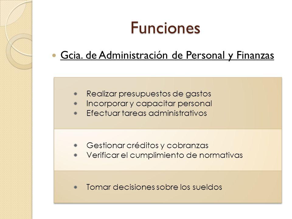 Funciones Gcia. de Administración de Personal y Finanzas