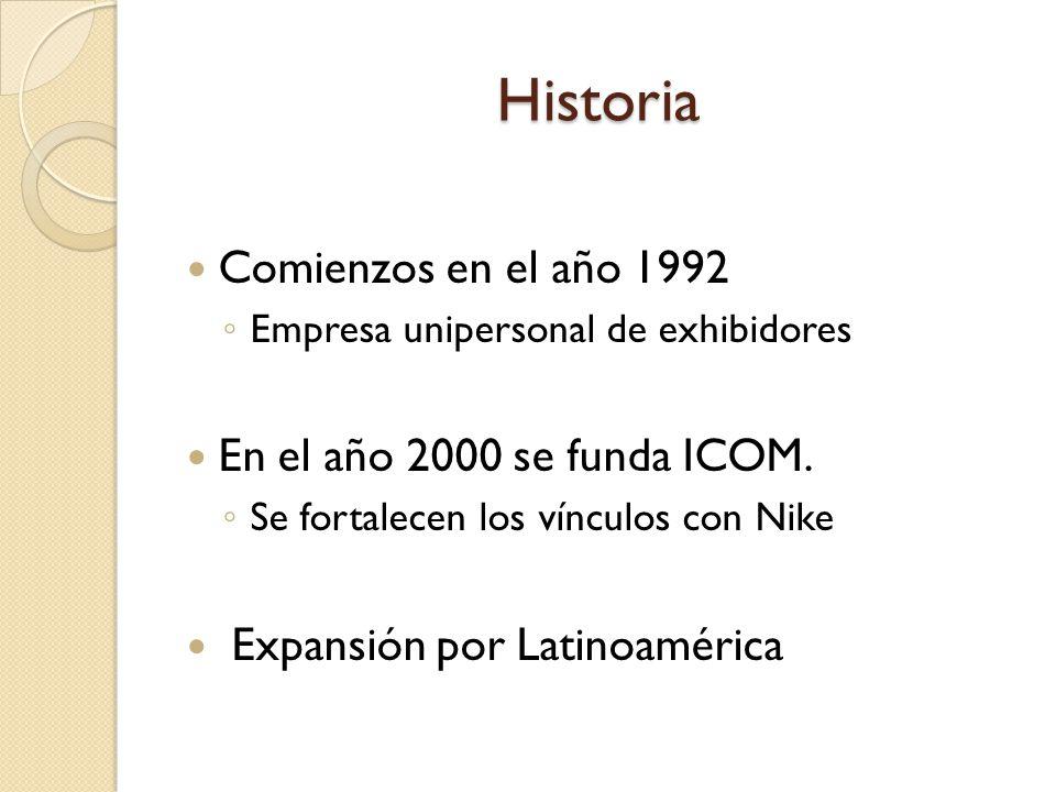 Historia Comienzos en el año 1992 Empresa unipersonal de exhibidores En el año 2000 se funda ICOM. Se fortalecen los vínculos con Nike Expansión por L