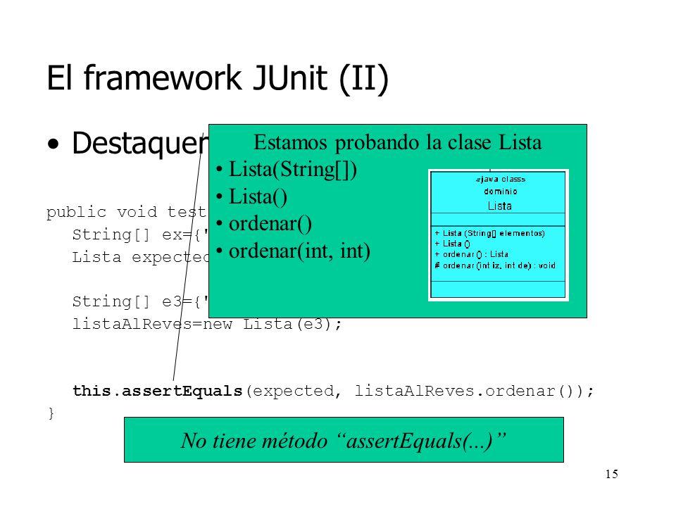 14 El framework JUnit (II) Destaquemos algunos elementos: public void testOrdenarReves() { String[] ex={ a , b , c , d , e }; Lista expected=new Lista(ex); String[] e3={ e , d , c , b , a }; listaAlReves=new Lista(e3); this.assertEquals(expected, listaAlReves.ordenar()); } Estamos probando la clase Lista