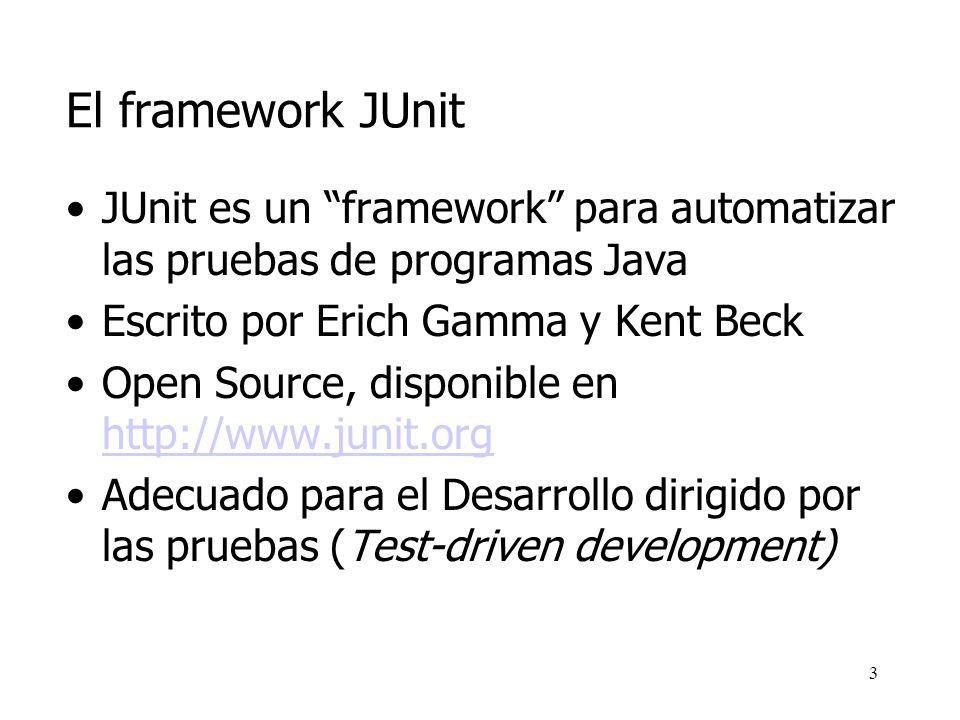 2 Contenidos El framework JUnit (I) Un ejemplo sencillo El framework JUnit (II) El TestRunner Términos Instalación de JUnit Objetos Mock