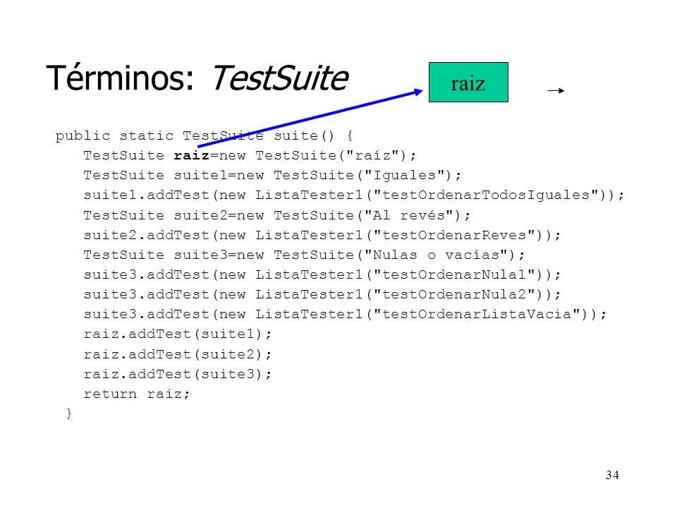 33 Términos: TestSuite public static TestSuite suite() { TestSuite raiz=new TestSuite( raíz ); TestSuite suite1=new TestSuite( Iguales ); suite1.addTest(new ListaTester1( testOrdenarTodosIguales )); TestSuite suite2=new TestSuite( Al revés ); suite2.addTest(new ListaTester1( testOrdenarReves )); TestSuite suite3=new TestSuite( Nulas o vacías ); suite3.addTest(new ListaTester1( testOrdenarNula1 )); suite3.addTest(new ListaTester1( testOrdenarNula2 )); suite3.addTest(new ListaTester1( testOrdenarListaVacia )); raiz.addTest(suite1); raiz.addTest(suite2); raiz.addTest(suite3); return raiz; }