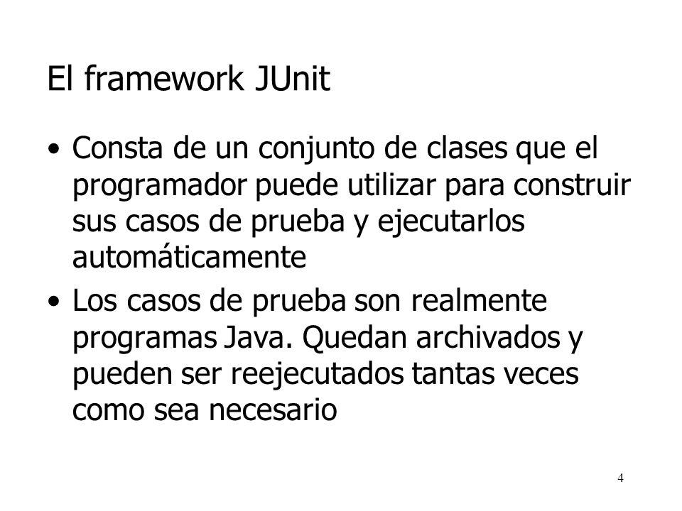 3 El framework JUnit JUnit es un framework para automatizar las pruebas de programas Java Escrito por Erich Gamma y Kent Beck Open Source, disponible en http://www.junit.org http://www.junit.org Adecuado para el Desarrollo dirigido por las pruebas (Test-driven development)