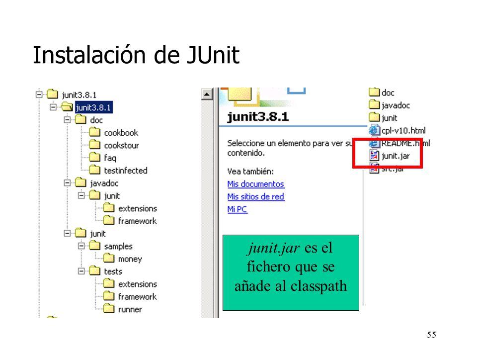 54 Instalación de JUnit http://www.junit.org