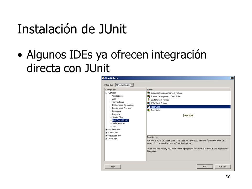 55 Instalación de JUnit junit.jar es el fichero que se añade al classpath