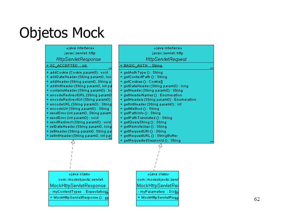 61 Objetos Mock En el caso anterior, el MockHttpServletRequest y el MockHttpServletResponse son objetos HttpServletRequest y HttpServletResponse, ya que el servlet que estamos probando trabaja con objetos de estos tipos