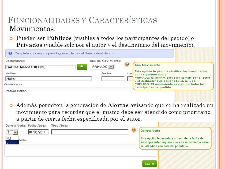 F UNCIONALIDADES Y C ARACTERÍSTICAS Movimientos: Pueden ser Públicos (visibles a todos los participantes del pedido) o Privados (visible solo por el autor y el destinatario del movimiento).