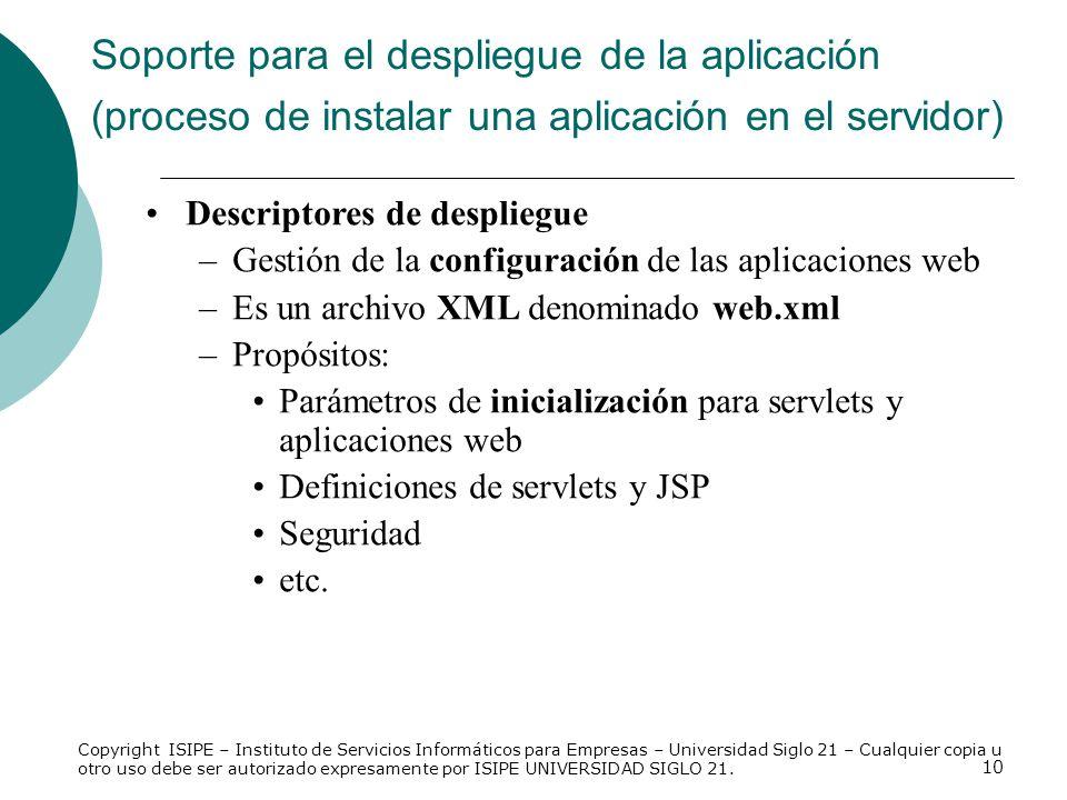 10 Soporte para el despliegue de la aplicación (proceso de instalar una aplicación en el servidor) Descriptores de despliegue –Gestión de la configura