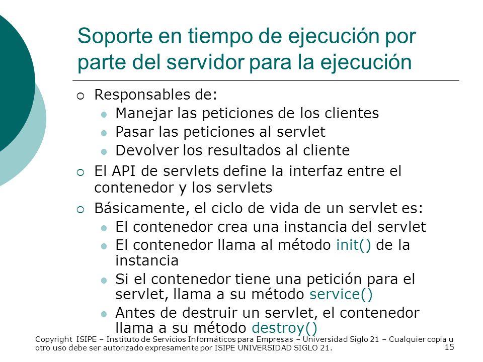 15 Responsables de: Manejar las peticiones de los clientes Pasar las peticiones al servlet Devolver los resultados al cliente El API de servlets defin