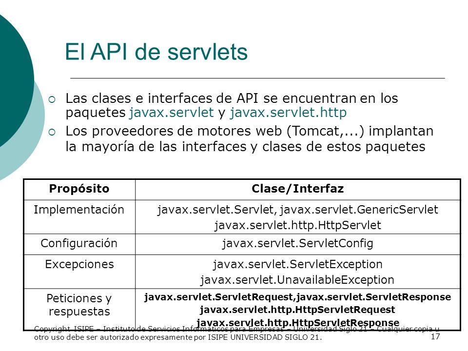 17 El API de servlets Las clases e interfaces de API se encuentran en los paquetes javax.servlet y javax.servlet.http Los proveedores de motores web (