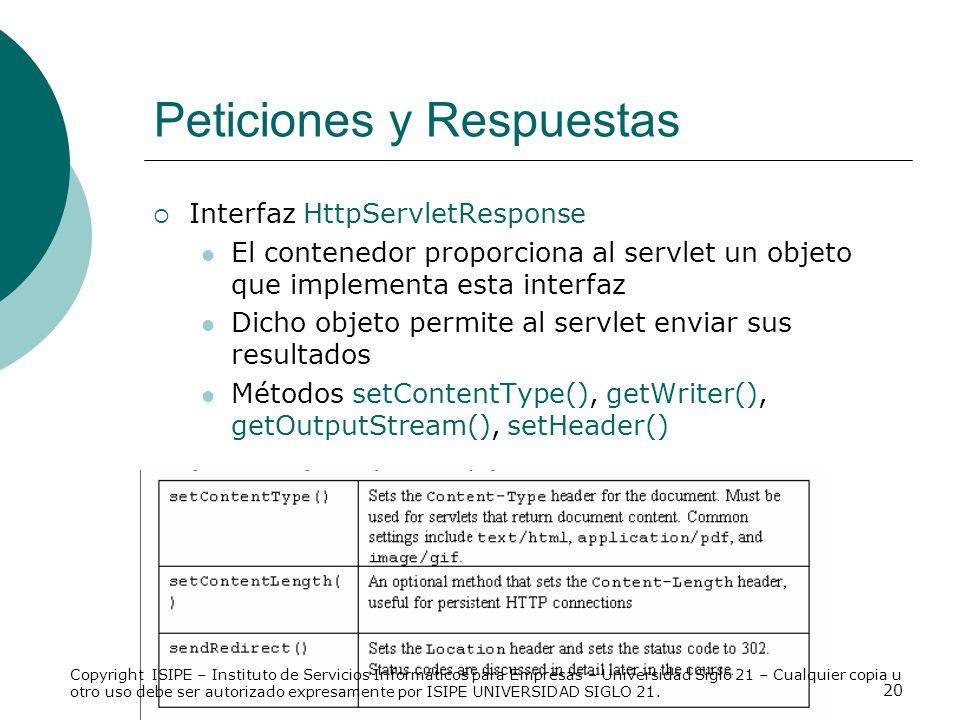 20 Peticiones y Respuestas Interfaz HttpServletResponse El contenedor proporciona al servlet un objeto que implementa esta interfaz Dicho objeto permi