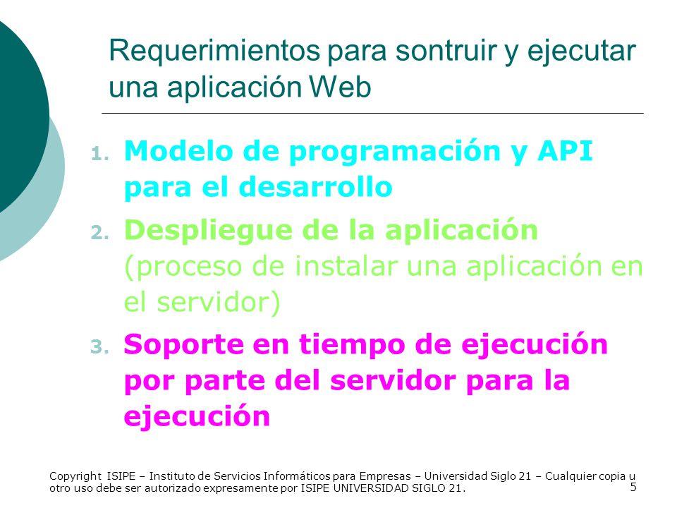5 1. Modelo de programación y API para el desarrollo 2. Despliegue de la aplicación (proceso de instalar una aplicación en el servidor) 3. Soporte en