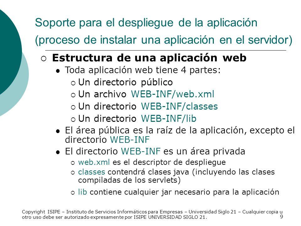 9 Estructura de una aplicación web Toda aplicación web tiene 4 partes: Un directorio público Un archivo WEB-INF/web.xml Un directorio WEB-INF/classes