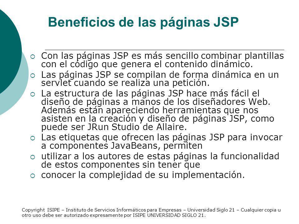 Elementos de las páginas JSP Directivas: las directivas funcionan como mensajes que se envían desde la página JSP al contenedor de páginas JSP.