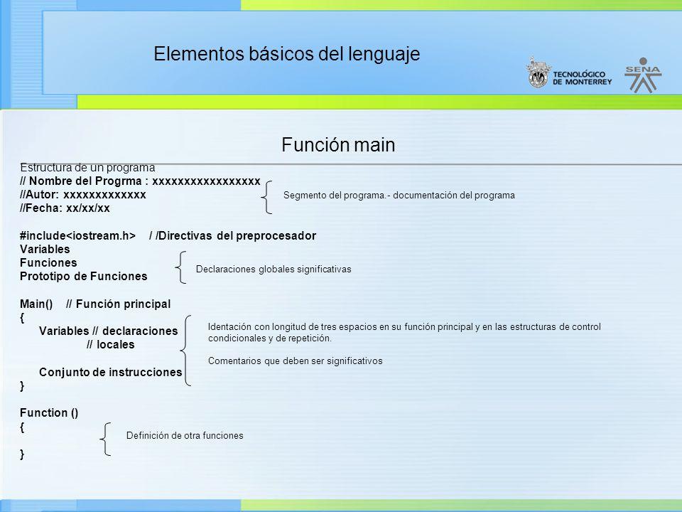 Función main Estructura de un programa // Nombre del Progrma : xxxxxxxxxxxxxxxxx //Autor: xxxxxxxxxxxxx //Fecha: xx/xx/xx #include / /Directivas del preprocesador Variables Funciones Prototipo de Funciones Main() // Función principal { Variables // declaraciones // locales Conjunto de instrucciones } Function () { } Segmento del programa.- documentación del programa Declaraciones globales significativas Identación con longitud de tres espacios en su función principal y en las estructuras de control condicionales y de repetición.
