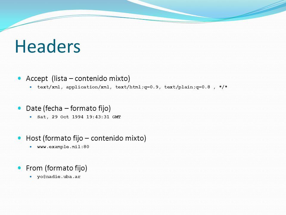 Headers Accept (lista – contenido mixto) text/xml, application/xml, text/html;q=0.9, text/plain;q=0.8, */* Date (fecha – formato fijo) Sat, 29 Oct 1994 19:43:31 GMT Host (formato fijo – contenido mixto) www.example.mil:80 From (formato fijo) yo@nadie.uba.ar