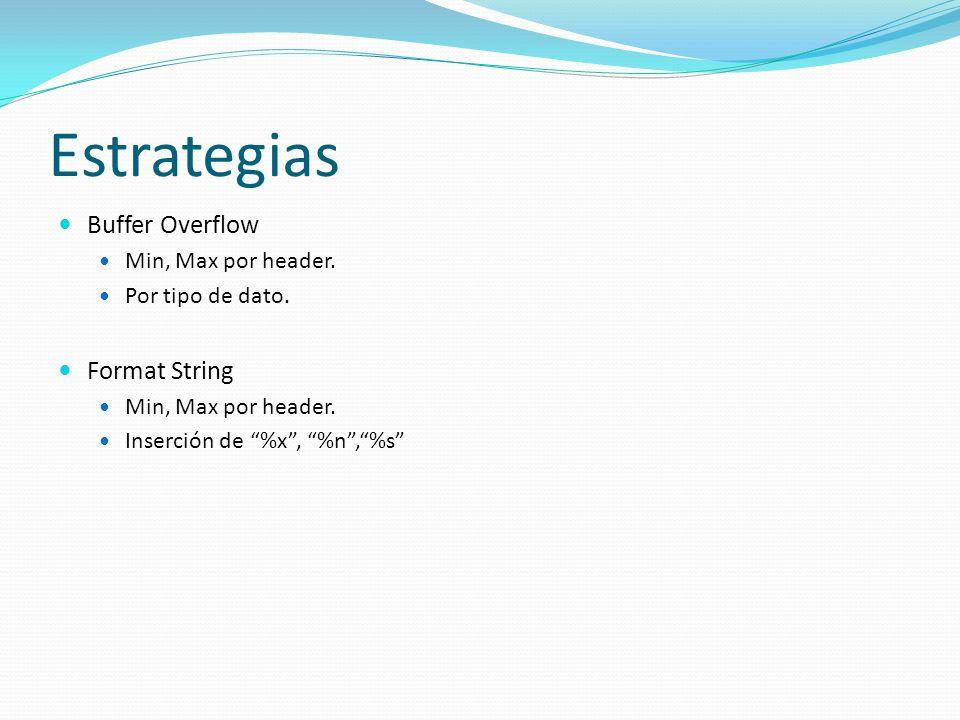 Estrategias Buffer Overflow Min, Max por header. Por tipo de dato.