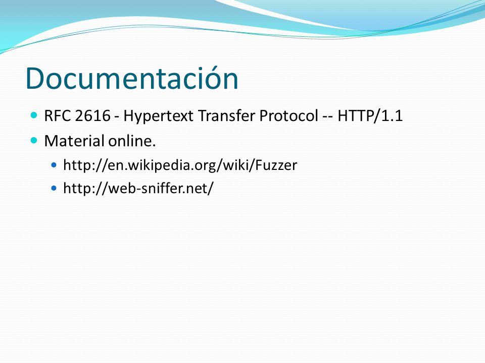 Documentación RFC 2616 - Hypertext Transfer Protocol -- HTTP/1.1 Material online.