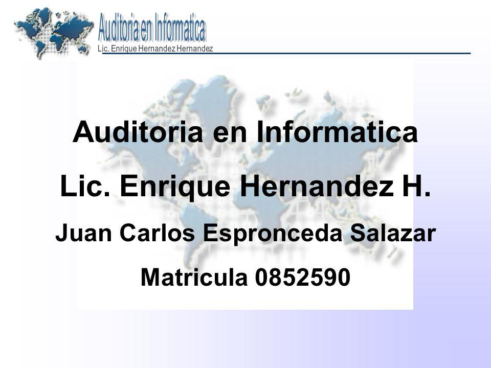 Auditoria en Informatica Lic. Enrique Hernandez H. Juan Carlos Espronceda Salazar Matricula 0852590