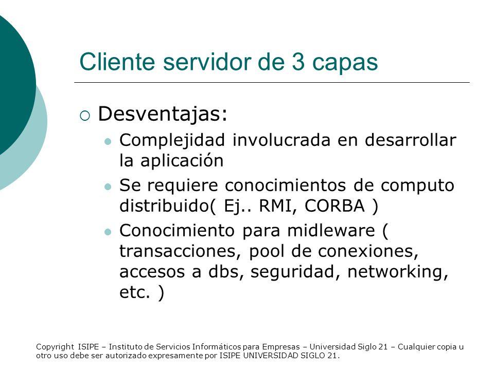 Cliente servidor de 3 capas Desventajas: Complejidad involucrada en desarrollar la aplicación Se requiere conocimientos de computo distribuido( Ej.. R