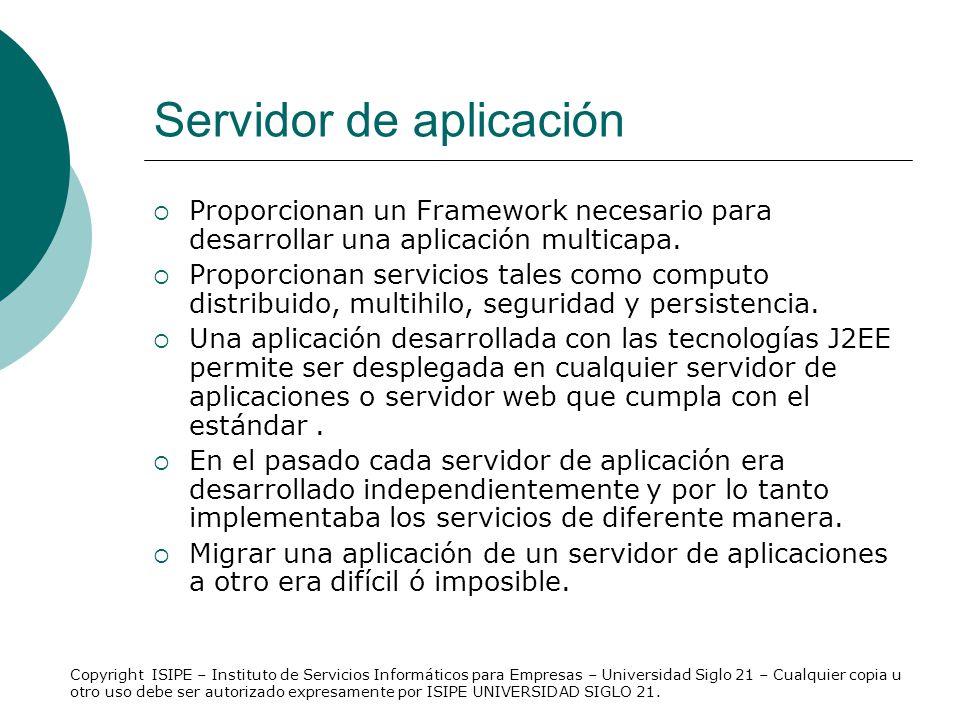 Servidor de aplicación Proporcionan un Framework necesario para desarrollar una aplicación multicapa. Proporcionan servicios tales como computo distri