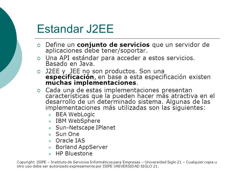 Estandar J2EE Define un conjunto de servicios que un servidor de aplicaciones debe tener/soportar. Una API estándar para acceder a estos servicios. Ba
