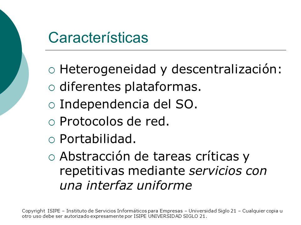Características Heterogeneidad y descentralización: diferentes plataformas. Independencia del SO. Protocolos de red. Portabilidad. Abstracción de tare